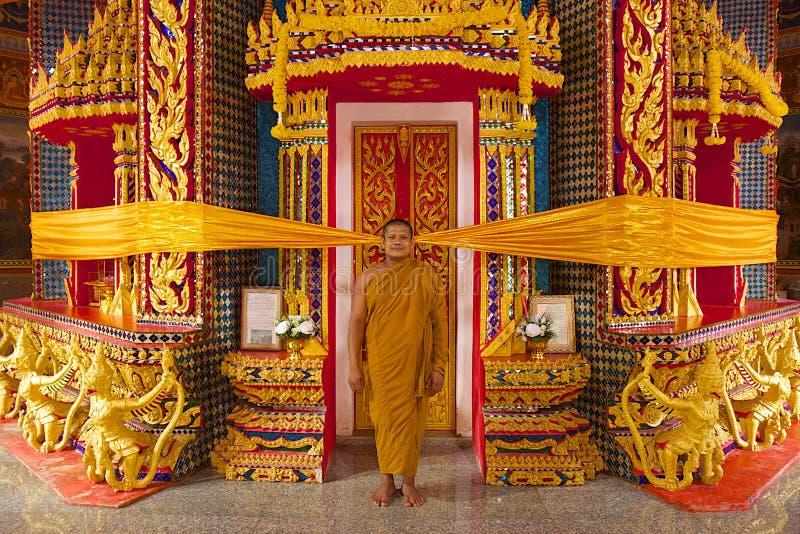 Wat鼠Upatham Wat轰隆Riang寺庙和修士 库存照片