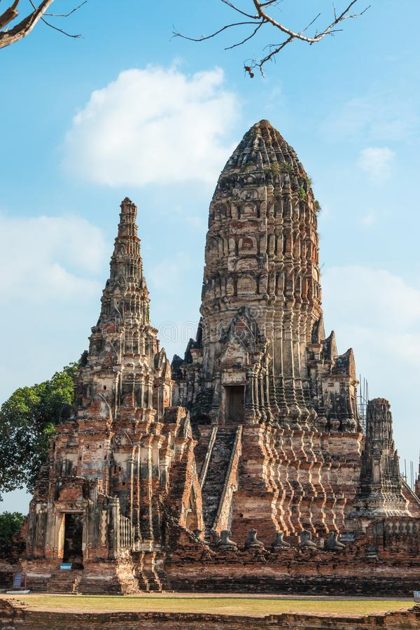 Wat Chaiwatthanaram佛教寺庙在阿尤特拉利夫雷斯历史公园、泰国和联合国科教文组织世界遗产名录站点城市 图库摄影