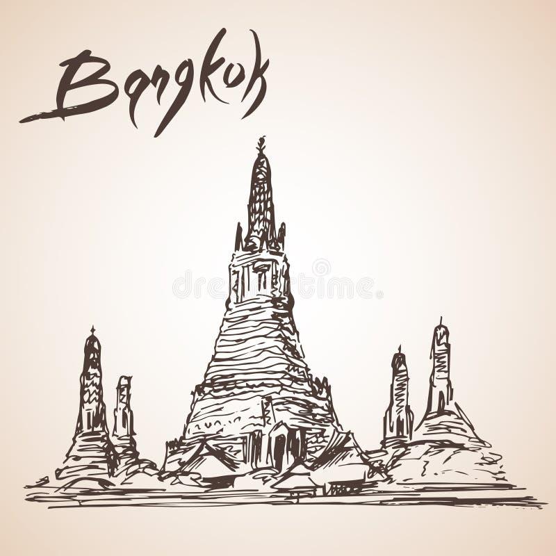 Wat Arun - буддийский висок в районе Бангкока Yai Бангкока, t иллюстрация штока