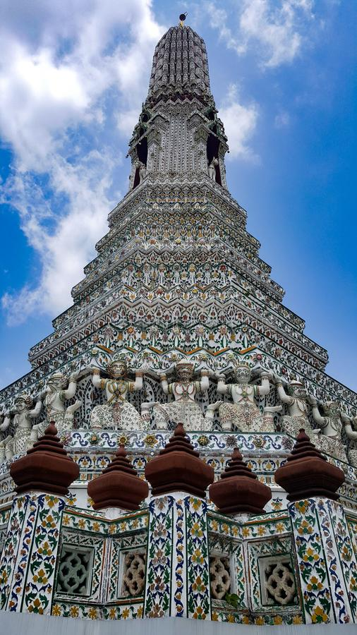 Structure of Wat Arun, Thailand. Wat Arun is among the best known of Thailand& x27;s landmarks and the first light of the morning reflects off the surface of the stock images
