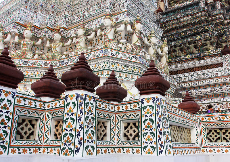 Wat Arun buddhist temple, Bangkok, Thailand - detail royalty free stock image