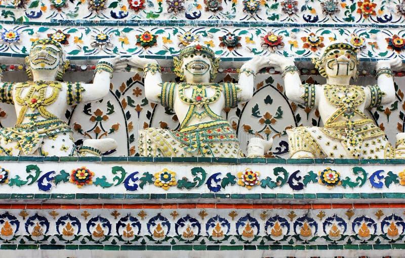 Wat Arun buddhist temple, Bangkok, Thailand - detail royalty free stock photo