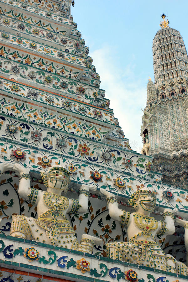 Wat Arun buddhist temple, Bangkok, Thailand - detail stock photos
