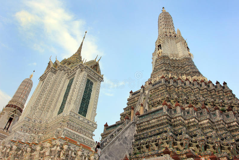 Wat Arun buddhist temple, Bangkok, Thailand - detail royalty free stock photos