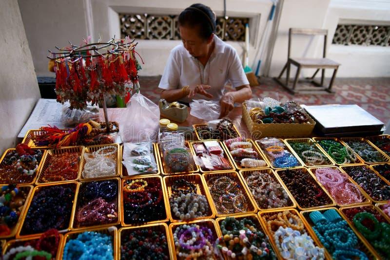 Wat Arun. Precious Stone Prayer Beads Vendor. Editorial Stock Photo