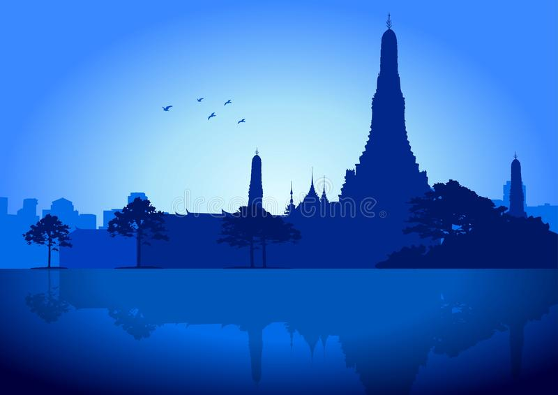 Wat Arun Temple_Bangkok ilustração royalty free