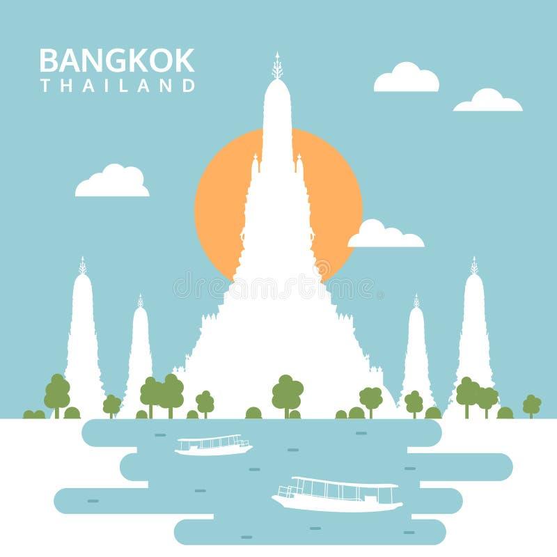 Wat Arun Temple, Bangkok, Tailandia, vector de la silueta del viaje ilustración del vector