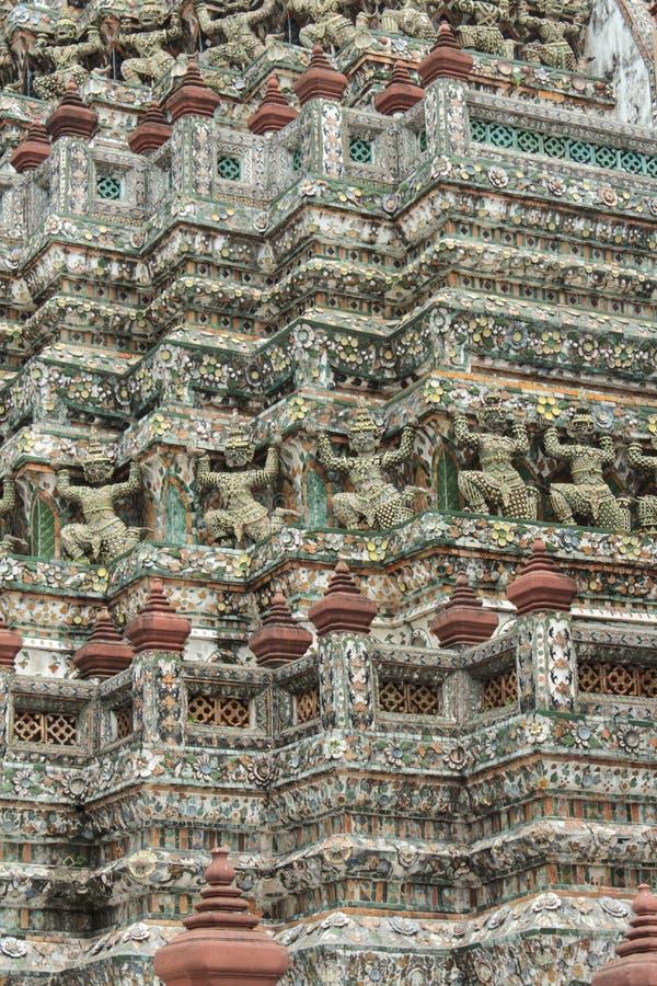 Wat arun, temple of dawn, bangkok thailand. Bangko, Thailand - March 03, 2014: Details of the Wat Arun, temple (Temple of Dawn) in bangkok thailand royalty free stock images