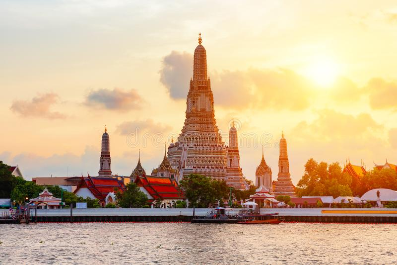 Famous Wat Arun or. Wat Arun or `Temple of Dawn` is a Buddhist temple in Bangkok Yai district of Bangkok, Thailand. Wat Arun is among the best known of Thailand` stock photos