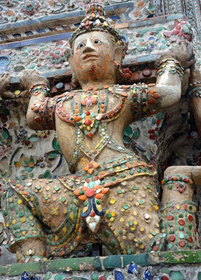 Wat Arun Temple of Dawn Dancer Sculpture, Bangkok royalty free stock photos