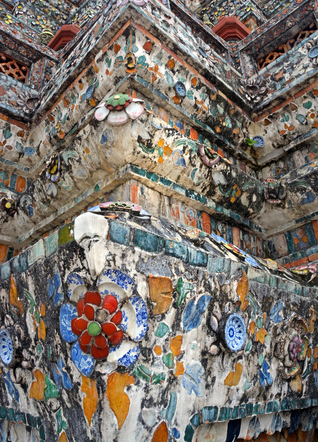 Wat Arun Temple of Dawn Mosaic Decoration Detail. royalty free stock photography