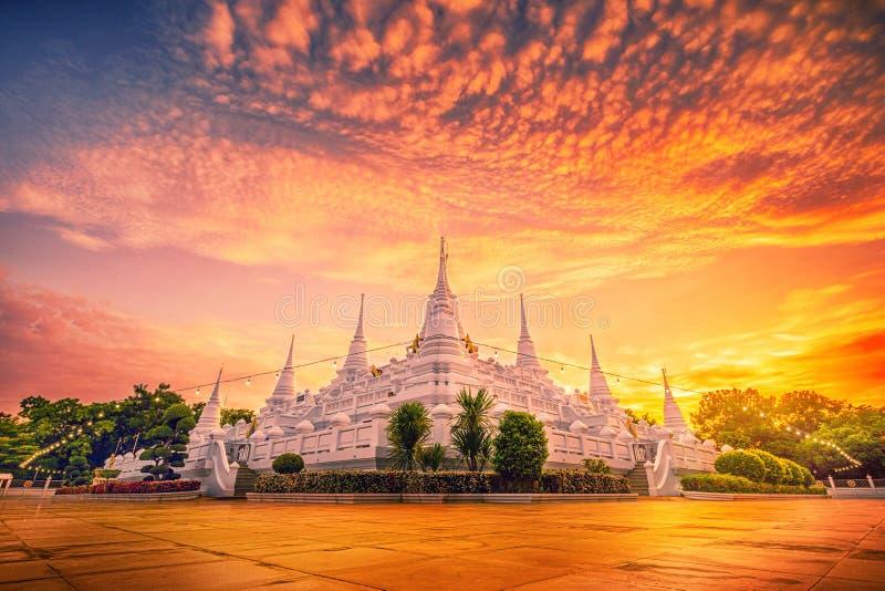 Wat asokaram temple at Twilgiht in Samutprakarn, Thailand.  stock photo
