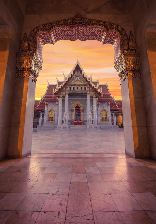 Wat Benchamabophit,大理石寺庙,曼谷,泰国 库存图片