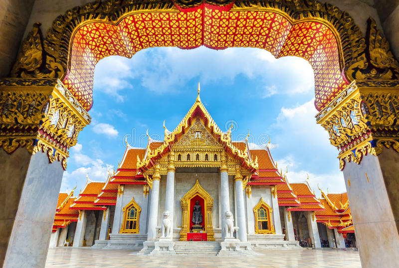 Wat Benchamabophit, Banguecoque, Tailândia fotografia de stock