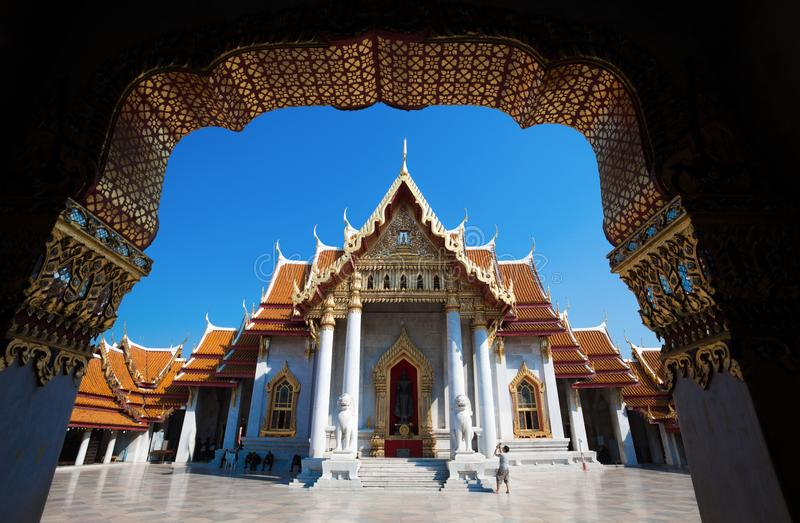Wat Benchamabophit Dusitvanaram - le temple de marbre, Bangkok thailand photo stock