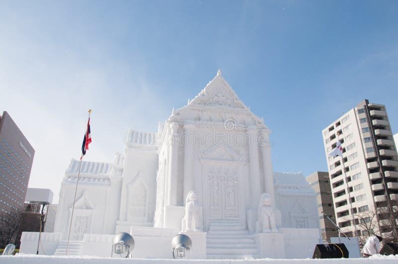 Wat Benchamabophit (le temple de marbre), festival de neige de Sapporo 2013 photos libres de droits