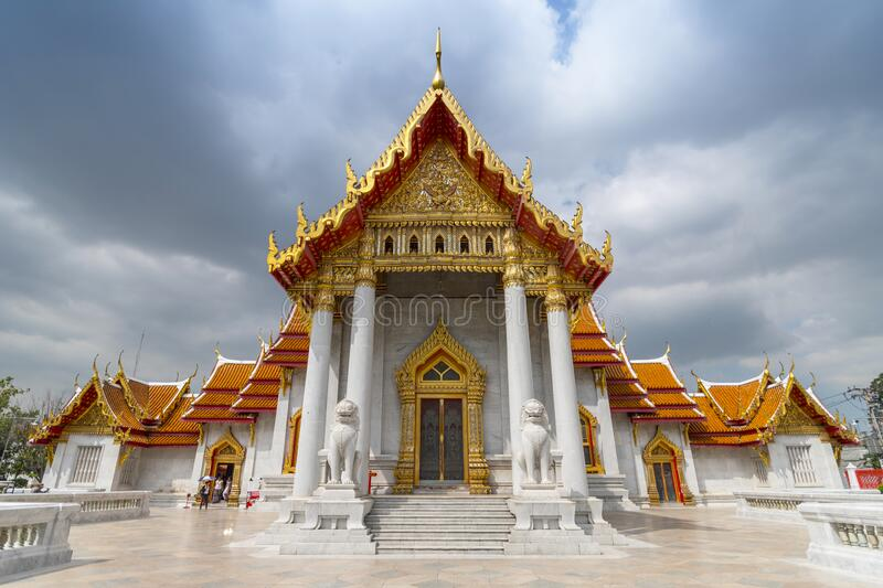 Wat Benchamabophit, the Marble Temple, in Bangkok, Thailand.  royalty free stock images