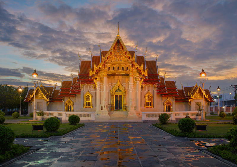 Wat Benchamabophit The Marble Temple, Bangkok, Thailand stockbilder