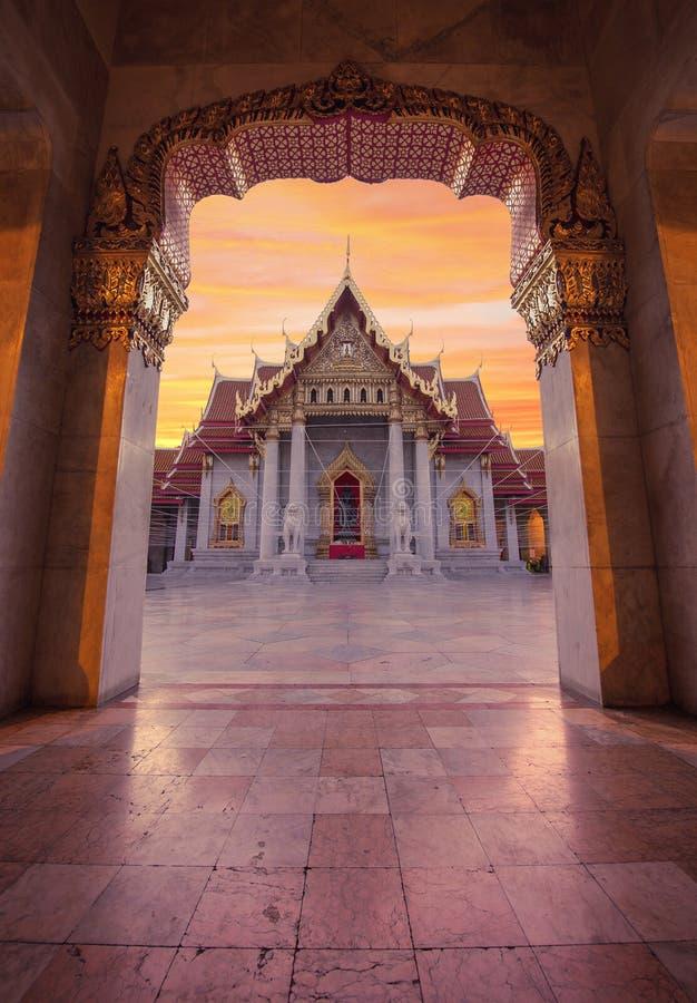 Wat Benchamabophit marmortempel, Bangkok, Thailand fotografering för bildbyråer