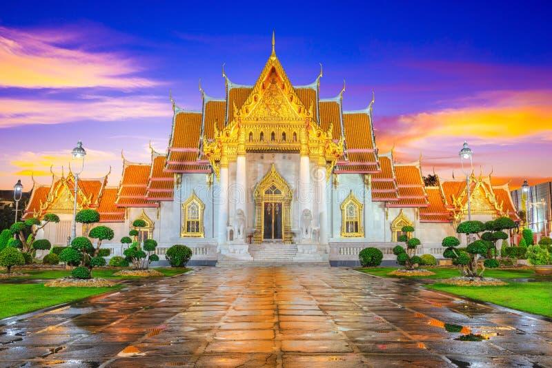 Wat Benchamabophit Temple Landmark Travel Place of Bangkok, Таиланд стоковые фотографии rf