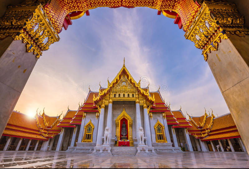 Wat Benjamaborphit or Marble Temple, Bangkok stock photos