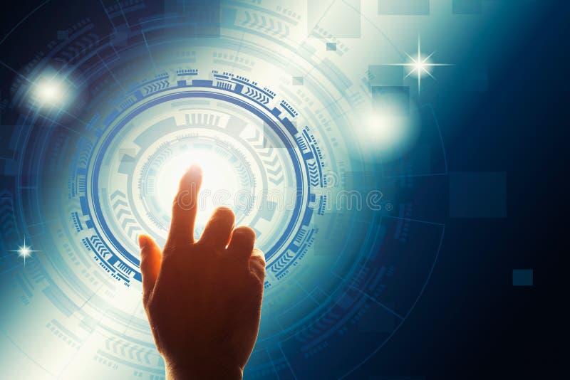 Wat betreft het digitale scherm met vingerpictogram op het virtuele scherm stock fotografie