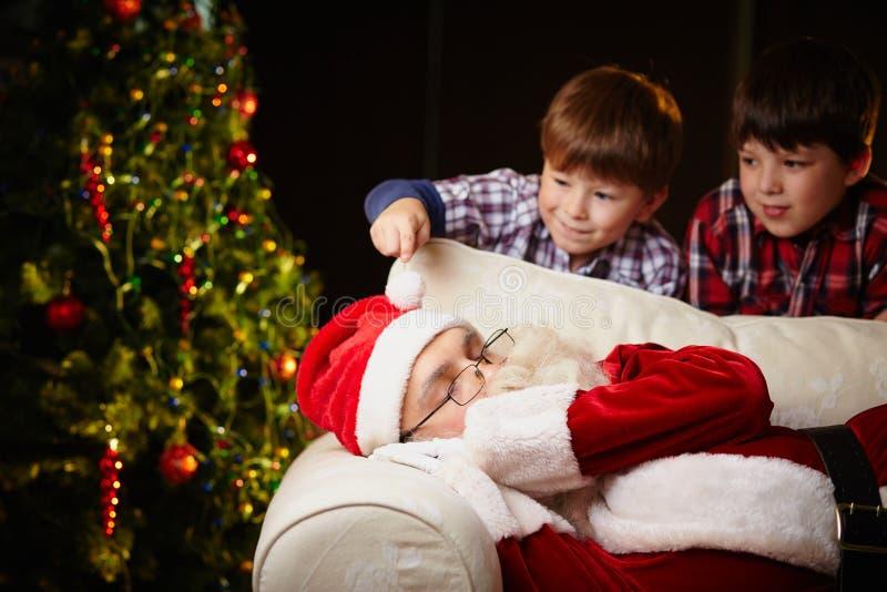 Wat betreft Kerstman stock afbeelding