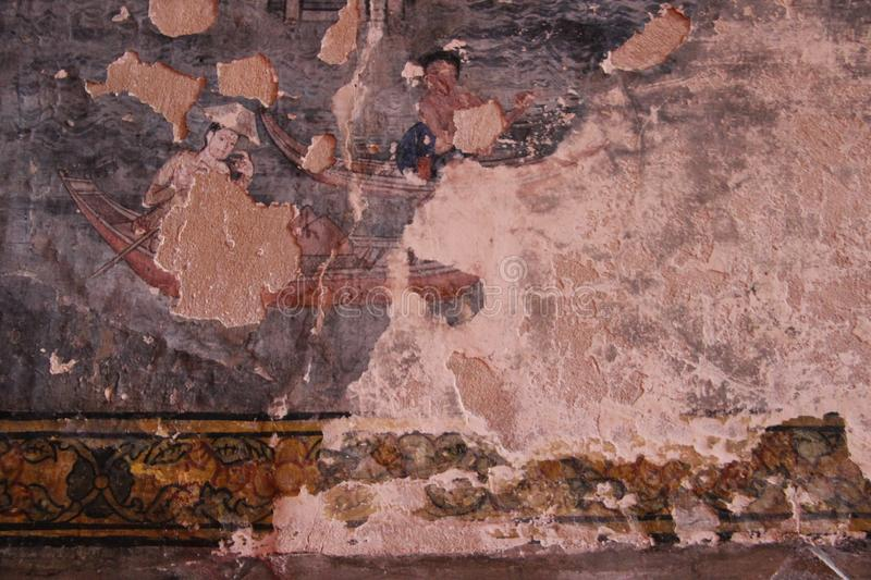 Colorful Way Of Life Old History Painting. Multicolor ancient history way of life in the part painting in Bowonniwet temple Bangkok Thailand stock images