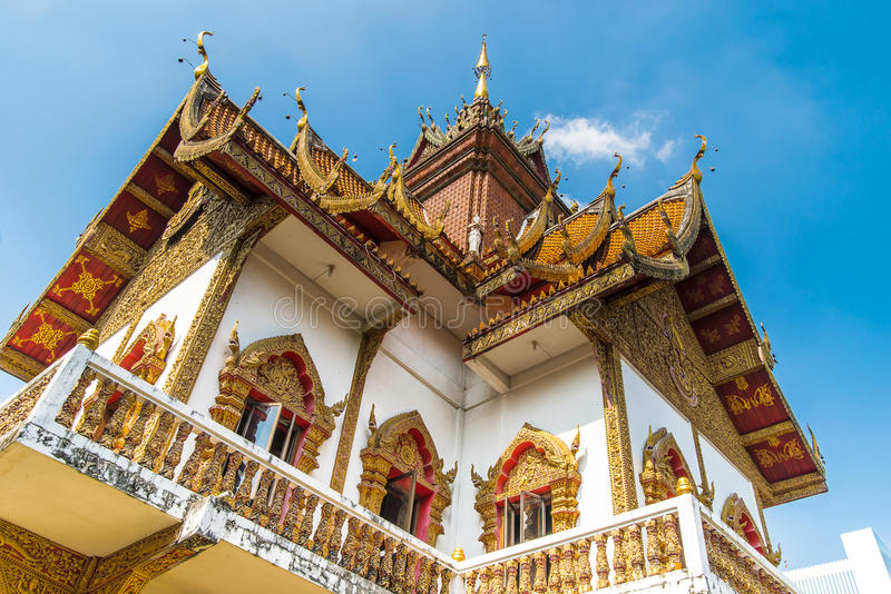 Wat Buppharam temple in Chiang Mai, Thailand. Ancient construction of public property stock photography
