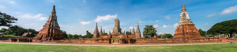 Wat Chai Wattanaram in der Panoramaansicht lizenzfreies stockfoto