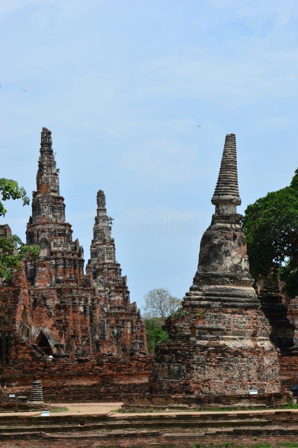 Wat Chai Wattanaram forntida tempel i Ayutthaya, Thailand arkivfoto