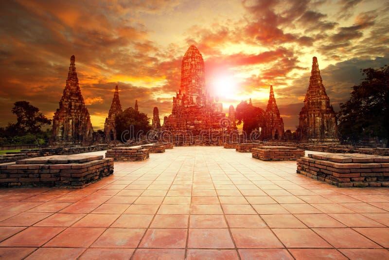 Wat chai wattanaram mest populär resande destination i ayutth arkivbild