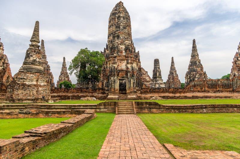 Wat Chaiwatthanaram在市阿尤特拉利夫雷斯,泰国。它打开 免版税库存照片
