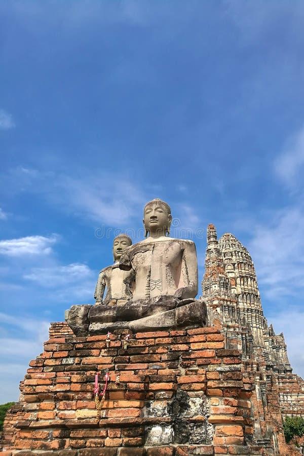 Wat Chaiwatthanaram在阿尤特拉利夫雷斯,泰国的老首都 免版税库存照片