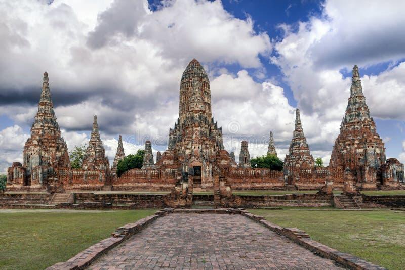 Wat Chaiwatthanaram в парке Ayutthaya историческом, Ayutthaya, Tha стоковые фотографии rf