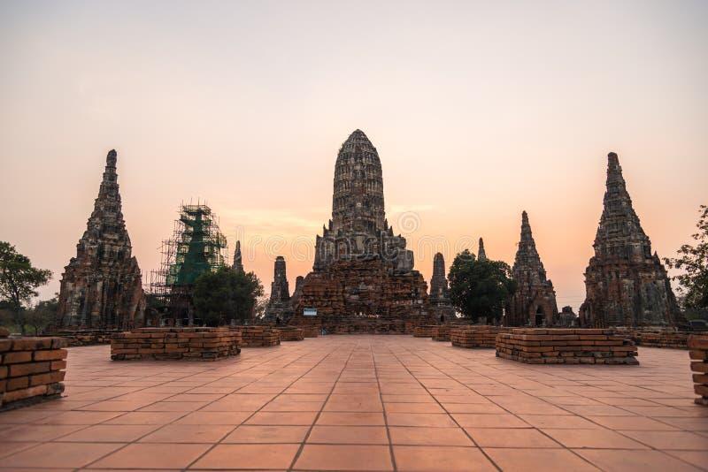 Wat Chaiwatthanaram старого виска провинции Ayutthaya Ayutthaya стоковые изображения