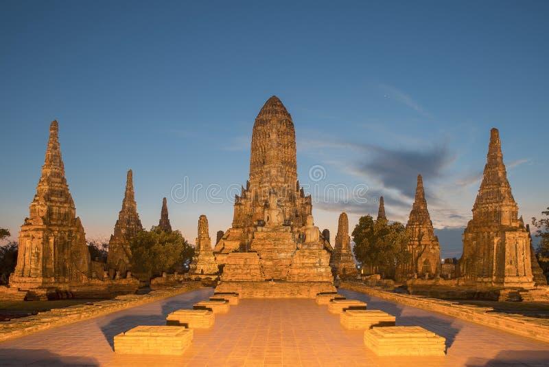 Wat Chaiwatthanaram in Ayutthaya, Thailand royalty-vrije stock foto
