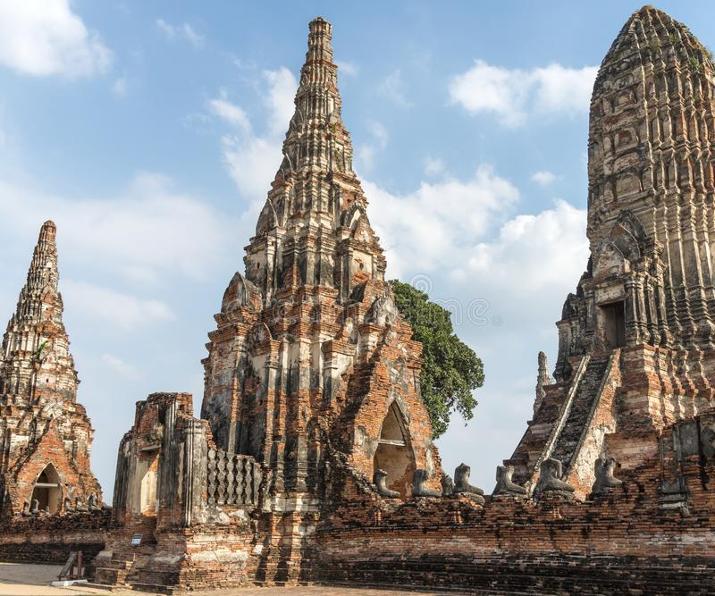 Wat Chaiwatthanaram Buddhist temple in the city of Ayutthaya Historical Park, Thailand, and a UNESCO World Heritage Site. It is one of many temples in the area stock photography