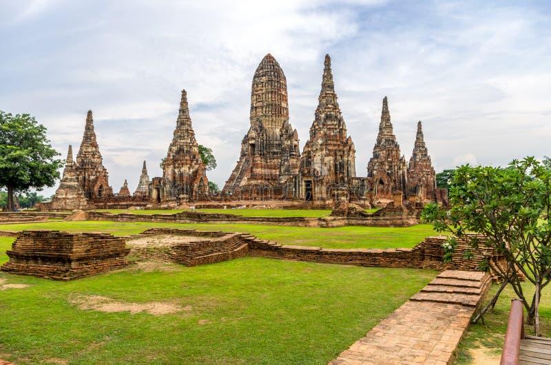 Wat Chaiwatthanaram i staden av Ayutthaya, Thailand. Den är på royaltyfri foto