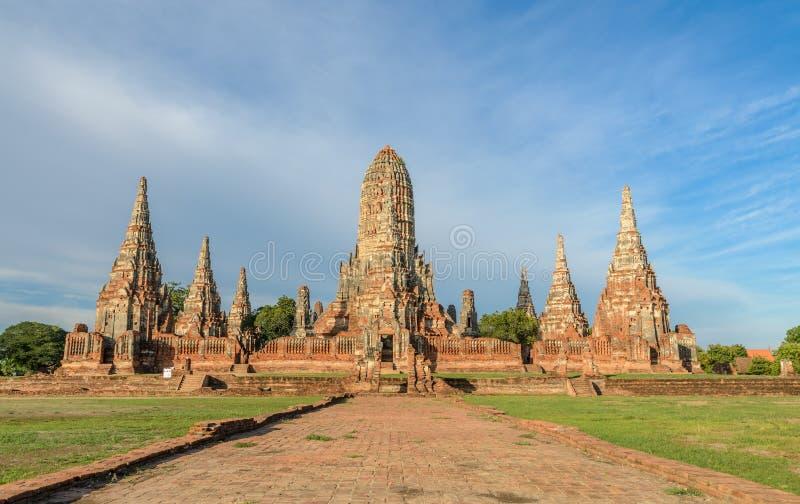 Wat Chaiwatthanaram Temple van Ayutthaya-Provincie, Thailand stock afbeeldingen
