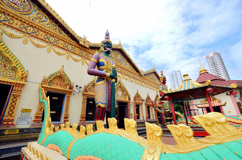 Wat Chaiyamangalaram Thai Buddhist Temple Penang Malaysia arkivbilder