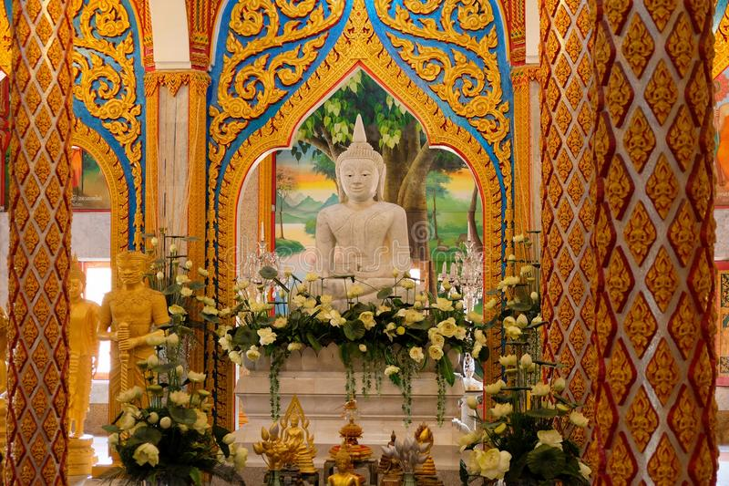 Wat Chalong Chaithararam Phuket Biggest-tempel royalty-vrije stock fotografie