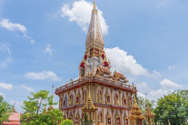 Wat Chalong un tempio del punto di riferimento della provincia di Phuket immagine stock libera da diritti