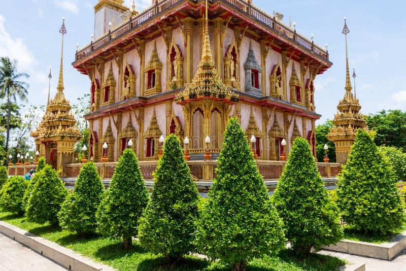 Wat Chalong un tempio del punto di riferimento della provincia di Phuket fotografia stock libera da diritti