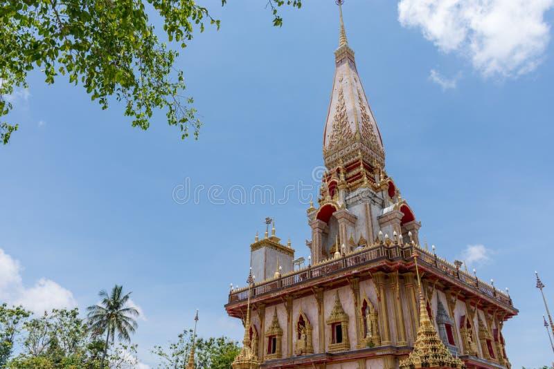 Wat Chalong un tempio del punto di riferimento della provincia di Phuket immagini stock libere da diritti