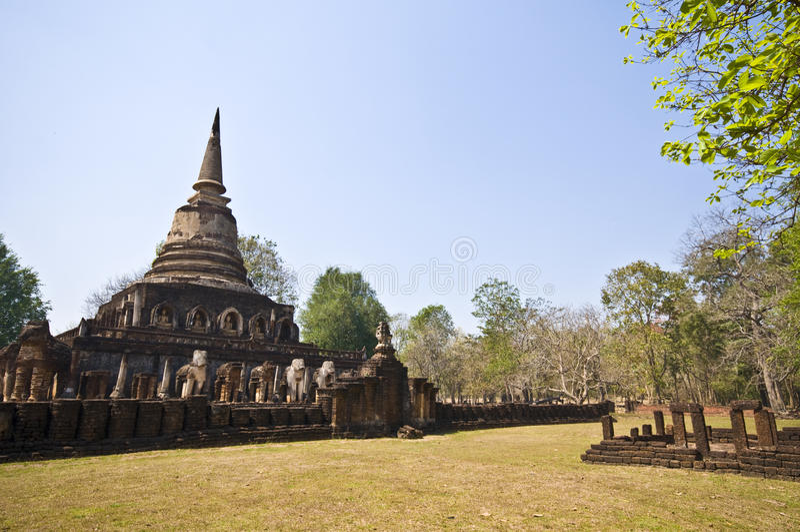 Wat Chang Lom 免版税库存图片
