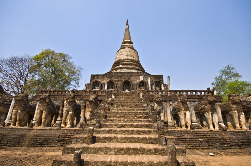 Wat Chang Lom foto de stock royalty free