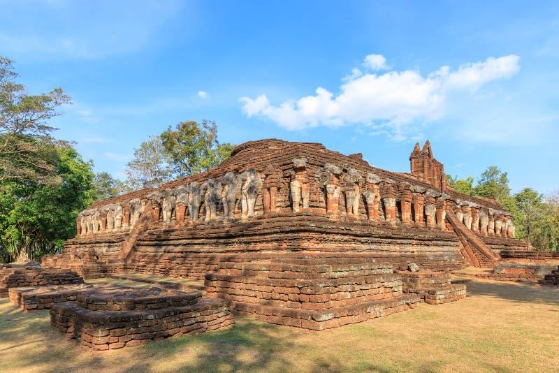 Wat Chang Rob-tempel in het Historische Park van Kamphaeng Phet, Unesco-de plaats van de Werelderfenis royalty-vrije stock fotografie