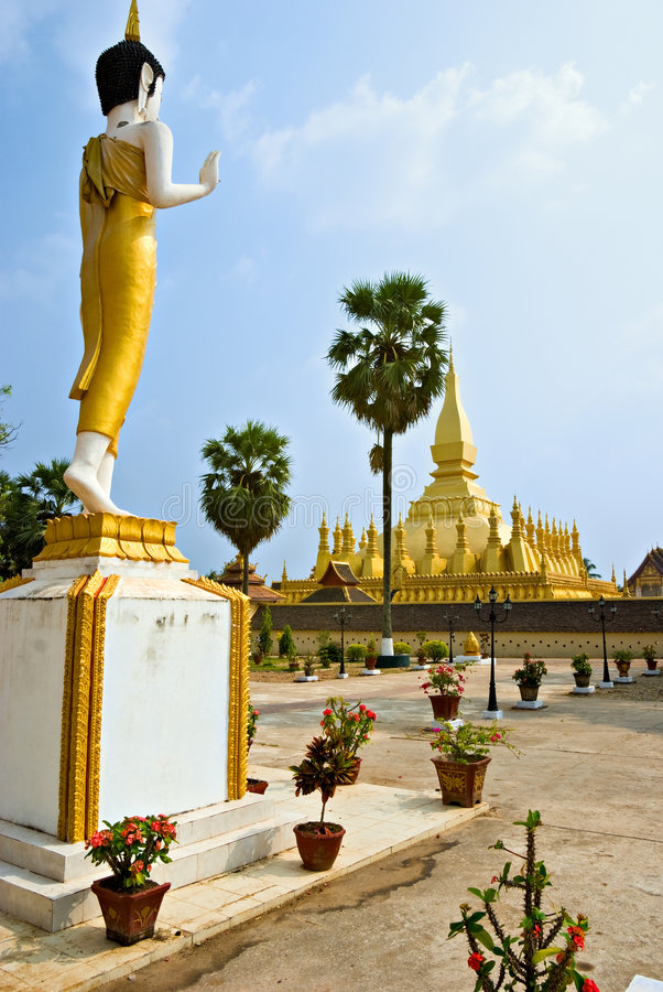 Wat che Luang, Laos. fotografia stock