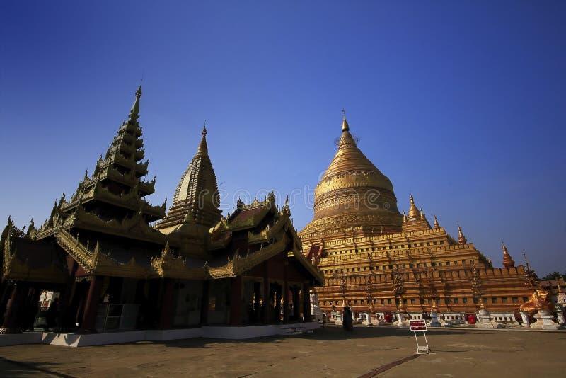 Wat Chedi huge gold in Myanmar. royalty free stock image